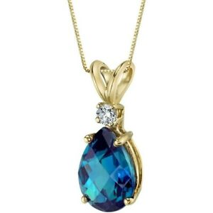 Oravo 14 Kt Yellow Gold Pear 2.50 cts Created Alexandrite Diamond Pendant