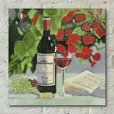 Red Wine Flowers Ceramic Wall Tile Picture Kitchen Plaque Glazed 12x12 05640