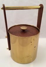 Mid Century Modern Brass And Wood Ice Bucket Made In Italy Vintage Bar Decor