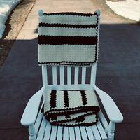 "NEW Pair Vtg Handmade Crochet Afghan Throw Blanket Brown Cream 73x46"" 60x41"""