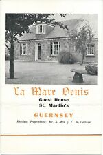 GUERNSEY Le Mare Denis Guest House c1961 Channel Islands folded brochure