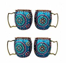 Set of 4 Pure Copper Ancient Mug Tumblers Hand Painting work Outer Side Blue +