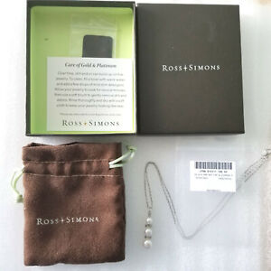 Ross Simons Necklace Sterling Silver Diamond White Pearl 925 Chain with box