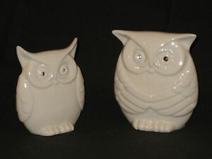 NEW Big & Small Porcelain White Owls With Beautiful Diamond Eyes (Qty Of 2)