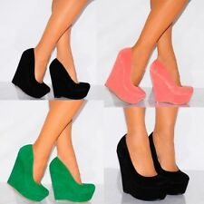 Wedge Party Patternless Faux Suede Upper Heels for Women