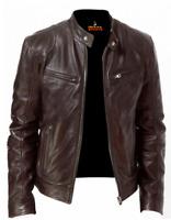 Deckra Mens Real Leather Jacket Winter Stylish Slim Fit Biker Jacket Brown S-XXL