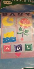 """New 28x40"""" Baby Icons Announcement Lawn Party Sign Decor Outdoor Flag Girl/Boy"""