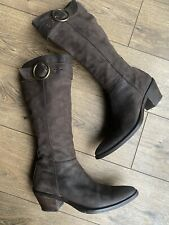 Logan Boot Company Luxury All Brown Leather Western Knee High Cowboy Boots 7 40
