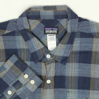 Patagonia Mens Shirt L Blue Beige Plaid Organic Cotton Button Front Long Sleeve
