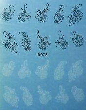 Accessoire ongles : nail art - Stickers décalcomanie - fleurs blanches et noires