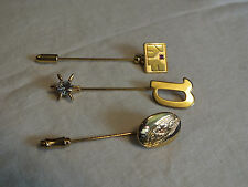 "Gold Tone Floral ""D"" Rhinestones Cute Beautiful Brooch Stick Pin Set 3"