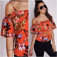 Missguided Orange Bardot Off Shoulder Floral Cropped Top Size 6 UK 2 US