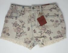 Mossimo Women's High-Rise Destructed Jean Short Shorts Rose Floral Print ( 10 )