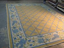 Vintage Hand Woven Portuguese Wool on Burlap Needlepoint  Rug  9' x 12' Portugal