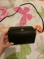 NWT COACH PEBBLE LEATHER CROSSBODY POUCH IN BLACK