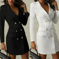 Women Short Bodycon Blazer Double Breasted Long Sleeve V-Neck Work Mini Dress