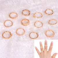 12 Pcs/Set Gold Plated Finger Rings Women Vintage Punk Knuckle Rings Jewelry_H