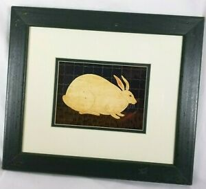Warren Kimble Rabbit Folk Art Print Farm Bunny Country Wood Framed Matted 12x14
