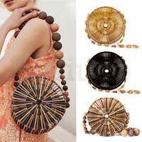 Womens Handmade Round Bamboo Bag Beach Wood Beads Handbag Crossbody Shoulder Bag