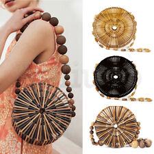 Women's Round Bamboo Bag Handmade Handbag Beach Wood Bead Crossbody Shoulder Bag