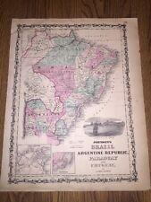 1852 Genuine Antique Hand Colored Map of Brazil/Argentina/Uruguay Johnson & Ward
