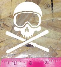 Snow Ski Skull Crossbones Downhill skiing ski binding Die Cut Sticker