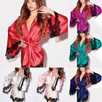 Sexy Lingerie Silk Night Gown Women Soft Lace Sleepwear Erotic Nightwear Pajama