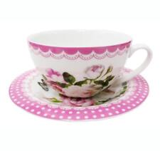 Tea Cup and Saucer Set -Pink Floral- New Bone China