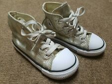 Toddler Girls Converse Gold Glitter Chuck Taylor All Star Mid Top Size 8 Guc