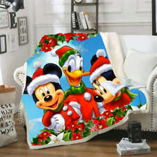 Mickey Mouse Red Christmas Dress 3D Warm Plush Fleece Blanket Picnic Sofa Couch