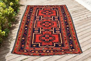 Caucasian Rug 61''x77'' Hand Knotted Vintage Primitive Rug Carpet 156x198cm 5x6