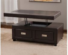Leather Lift Top Coffee Table Storage Drawers Furniture End Cocktail Espresso