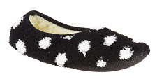 World's Softest Womens Cozy Slippers Black with White Dots Medium Non-Skid Sole