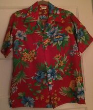 Tiki Floral Shirt Pointed Collar MADE IN HAWAII VINTAGE DEAD STOCK 1960's SZ XS