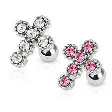 Surgical Steel Cross Tragus Lip Labret Nose Ear Cartilage Piercing Helix Barbell