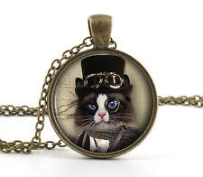 Noir & White Petit Chaton Steampunk Pendentif - Chat Humour Jewelry Cadeau
