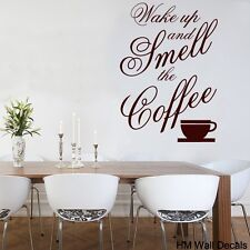 """Wall Quote Vinyl Decal """"Wake up and smell the coffee"""" for your home or cafe"""