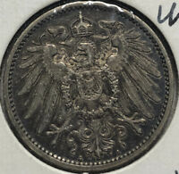 1912-A Germany 1 Mark Silver Coin, XF Condition