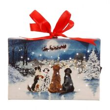 6 Inch Tabletop LED Lighted Print On Canvas - Dogs Watching Santa With Stand