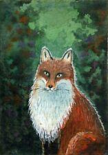 ACEO Original Watercolor Painting Fox
