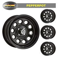 """7.0x15"""" Pepperpot 4x100 GLOSS BLACK Steel Wheels (x4)"""