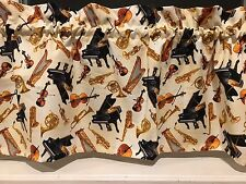 NEW Concerto Tossed Instruments Piano Trumpet Saxophone Music  Valance Curtain