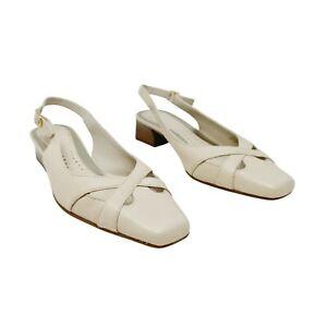 Clarks Cream Beige Slingback Heels Shoes UK 7 E Wide Fit Block Heel