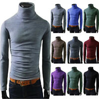 Winter Men Slim Fit Knit High Neck Pullover Turtleneck Jumper Sweater Tops Shirt