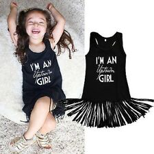 Tolles Fransen Mädchen Kleid Boho Gr. 110  schwarz Sommer Uptown girl