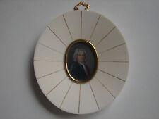 Piccolo Miniatura IN Beinrahmen Con IN Ottone, Biedermeier Herr, Firmato, 9x10cm
