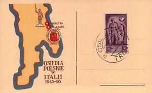 FDC OSIEDLA POLSKIE W ITALJI 1945-46 / TRANI BARLETTA POLONIA Corpo Polacco 1946