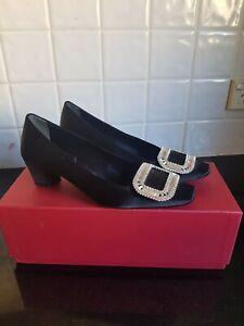 Roger Vivier black belle Satin Crystal Buckle Heels Size 35 worn once