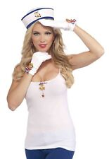 Lady In The Navy Patriotic Costume Gloves With Gold Anchor Charm One Size
