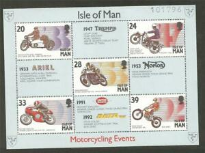 ISLE OF MAN - 1993 Motorcycles - Racers and their Bikes - MUH MINIATURE SHEET